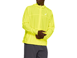 Front Top view of RUN HOOD JACKET, SAFETY YELLOW