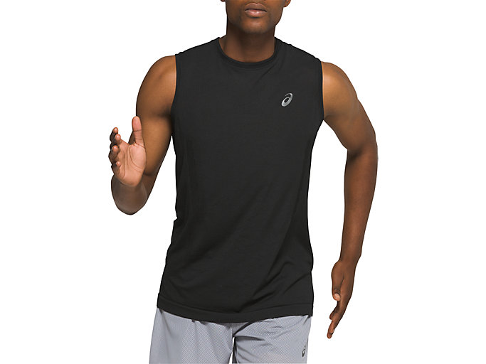 Front Top view of VENTILATE SLEEVELESS, PERFORMANCE BLACK