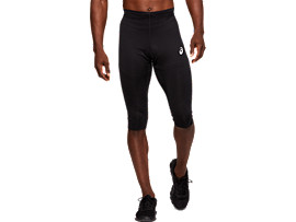 Front Top view of RUNNING KNEE TIGHT, PERFORMANCE BLACK