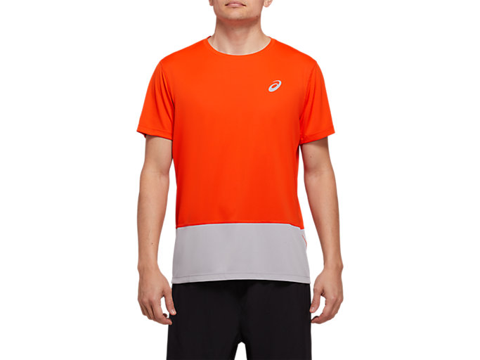 Front Top view of SPORT CLBL TEE, CHERRY TOMATO/PIEDMONT GREY