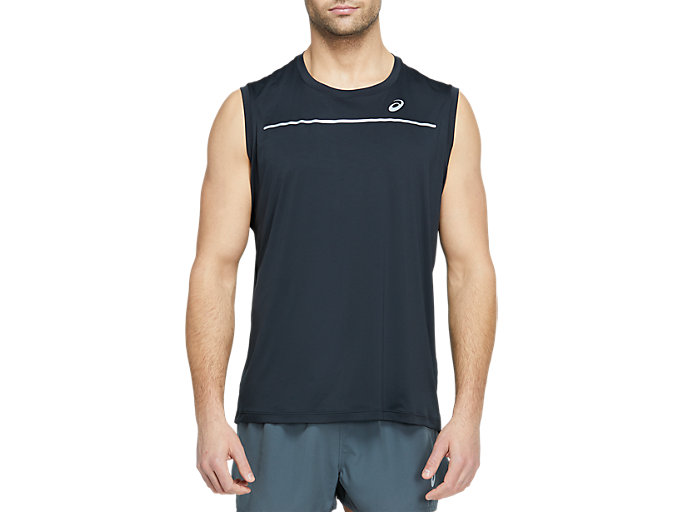 Front Top view of LITE-SHOW SLEEVELESS, PERFORMANCE BLACK