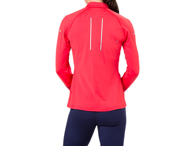 Back view of LITE-SHOW WINTER LS 1/2 ZIP TOP, RED ALERT/SAMBA