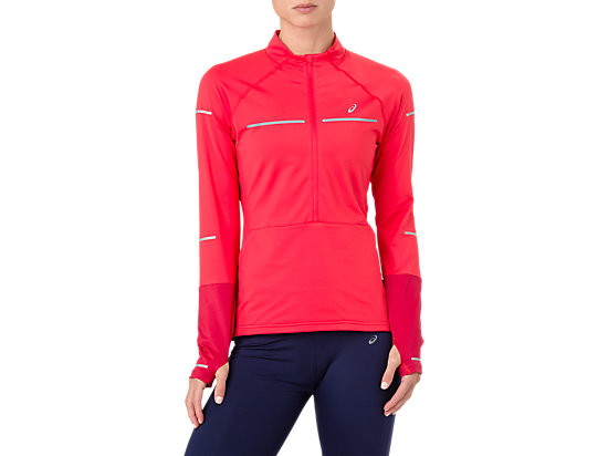 654bfb63ccc0 Lite-Show 1/2 Zip Long Sleeve Shirt | WOMEN | Red Alert/Samba | ASICS US