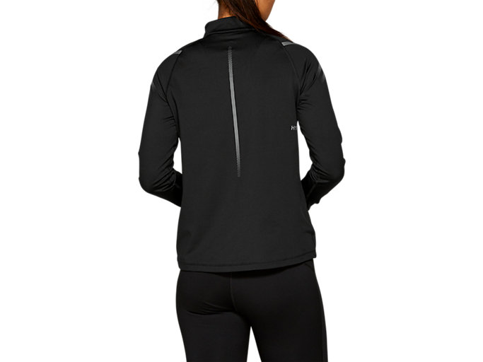 Back view of ICON WINTER LS 1/2 ZIP TOP, PERFORMANCE BLACK