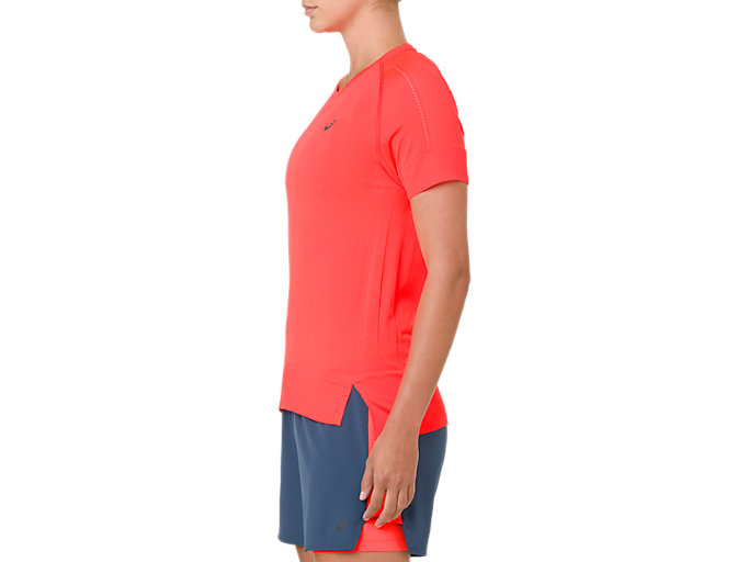 Side view of SEAMLESS SS TOP, FLASH CORAL