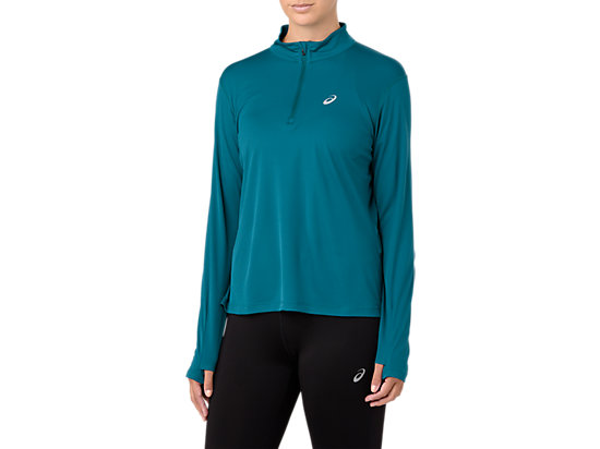 SILVER LS 1/2 ZIP TOP, DEEP AQUA