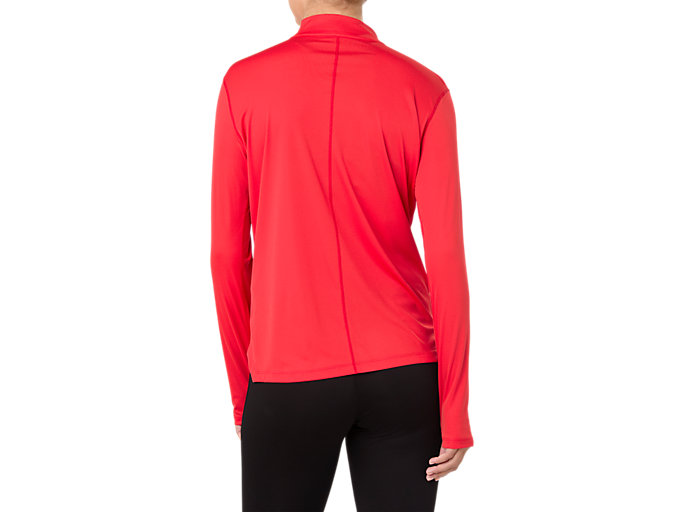 Back view of SILVER LS 1/2 ZIP TOP, RED ALERT