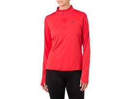 SILVER LS 1/2 ZIP TOP, RED ALERT