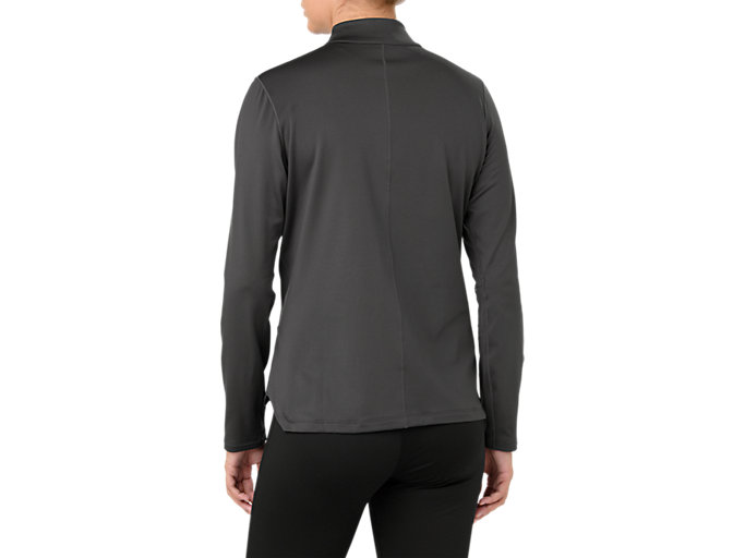 Back view of SILVER LS 1/2 ZIP WINTER TOP, DARK GREY