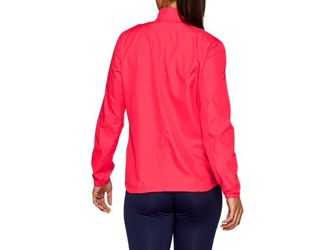 Back view of SILVER JACKET, LASER PINK