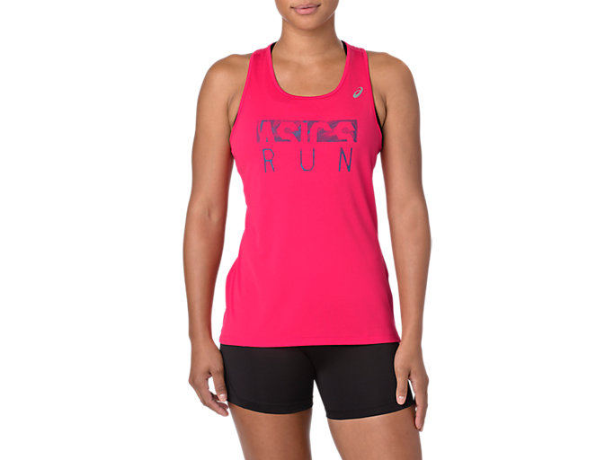 Front Top view of SILVER GRAPHIC TANK, PIXEL PINK
