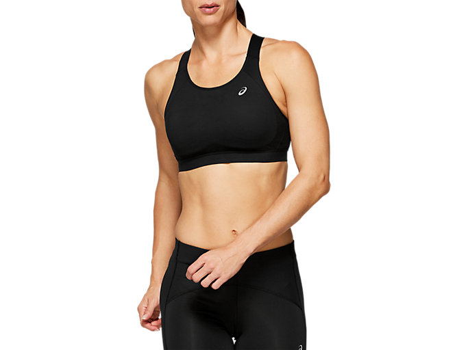 Front Top view of ZERO DISTRACTION BRA, PERFORMANCE BLACK