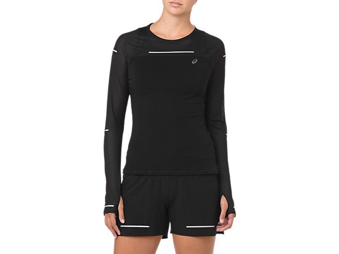Front Top view of LITE-SHOW LONG SLEEVE, PERFORMANCE BLACK