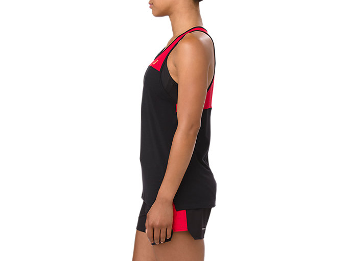 Side view of LOOSE STRAPPY TANK, MP PERFORMANCE BLACK