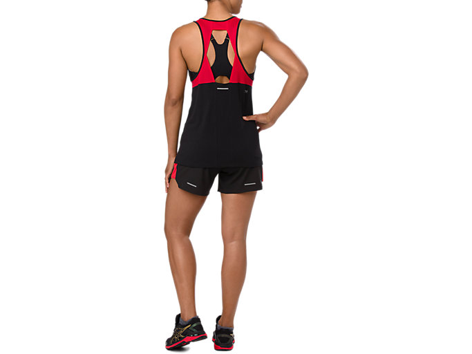 Back view of LOOSE STRAPPY TANK, MP PERFORMANCE BLACK
