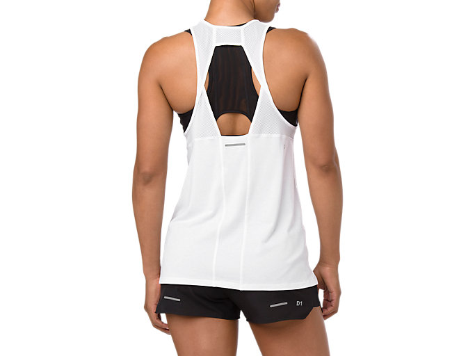 Back view of LOOSE STRAPPY TANK, BRILLIANT WHITE