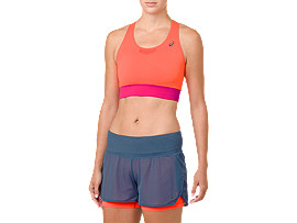 Front Top view of COOLING SEAMLESS BRA, FLASH CORAL/PINK RAVE