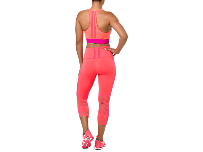 Back view of COOLING SEAMLESS CAPRI, FLASH CORAL
