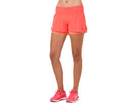 Front Top view of COOL 2-IN-1 SHORT, FLASH CORAL/ CORAL PINK