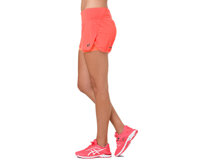 Side view of COOL 2-IN-1 SHORT, FLASH CORAL/ CORAL PINK