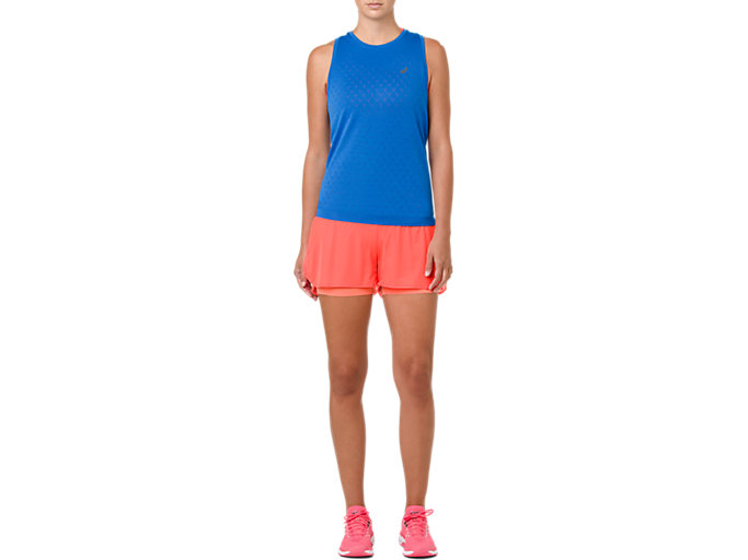 Front Top view of COOL 2-IN-1-SHORTS, FLASH CORAL/ CORAL PINK