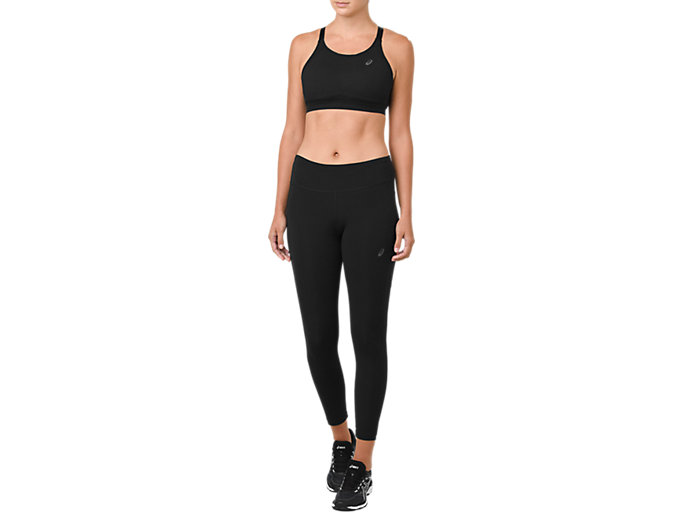 Front Top view of CROP TIGHT, PERFORMANCE BLACK