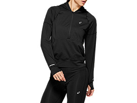 THERMOPOLIS 1/2 ZIP LS HOODIE, PERFORMANCE BLACK