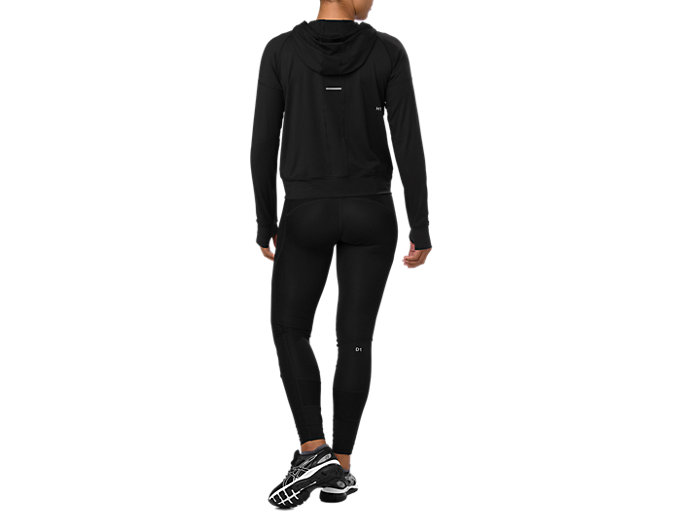 Back view of THERMOPOLIS 1/2 ZIP LS HOODIE, PERFORMANCE BLACK