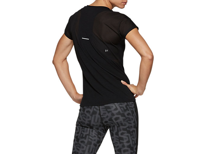 Back view of V-NECK SS TOP, PERFORMANCE BLACK