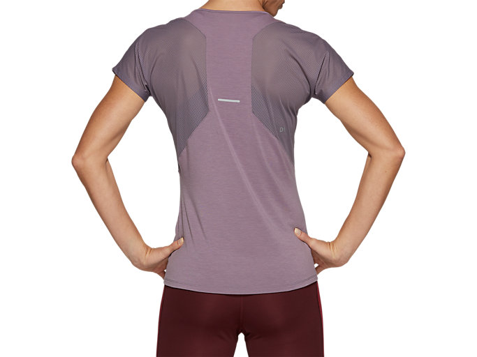 Back view of V-NECK SS TOP, LAVENDER GREY