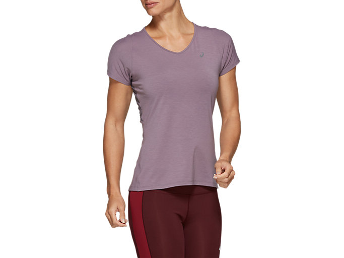 Front Top view of V-NECK SS TOP, LAVENDER GREY
