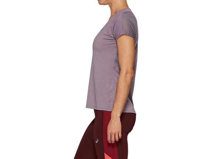 Side view of V-NECK SS TOP, LAVENDER GREY