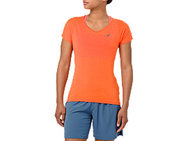 Front Top view of V-NECK SS TOP, NOVA ORANGE