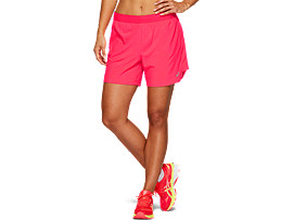 "Front Top view of Pantalón corto de running 2-en-1 para mujer 5,5"", LASER PINK / PERFORMANCE BLACK"