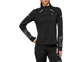 Front Top view of LITE-SHOW™ 2 WINTER LS 1/2 ZIP TOP, PERFORMANCE BLACK