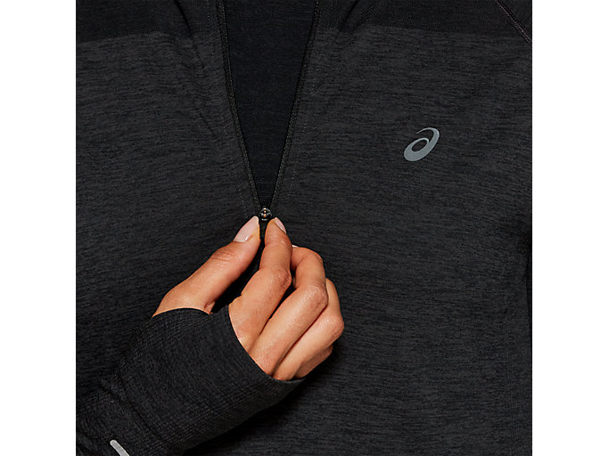 Alternative image view of SEAMLESS LS 1/2 ZIP TOP, PERFORMANCE BLACK