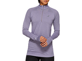 Front Top view of SEAMLESS LS 1/2 ZIP TOP, LAVENDER GREY