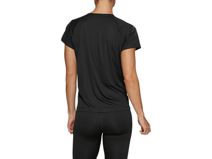 Back view of SILVER ICON TOP, PERFORMANCE BLACK/DARK GREY