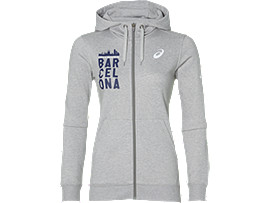 Front Top view of FZ HOODIE BM, HEATHER GREY