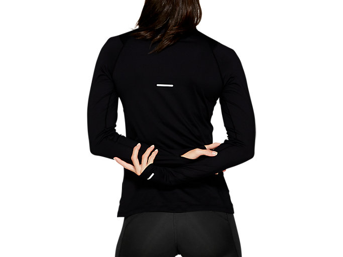Back view of THERMOPOLIS LS 1/2 ZIP, PERFORMANCE BLACK