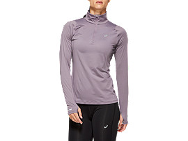 Front Top view of THERMOPOLIS LS 1/2 ZIP, LAVENDER GREY