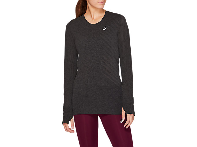 Front Top view of SEAMLESS LS TOP, PERFORMANCE BLACK HEATHER