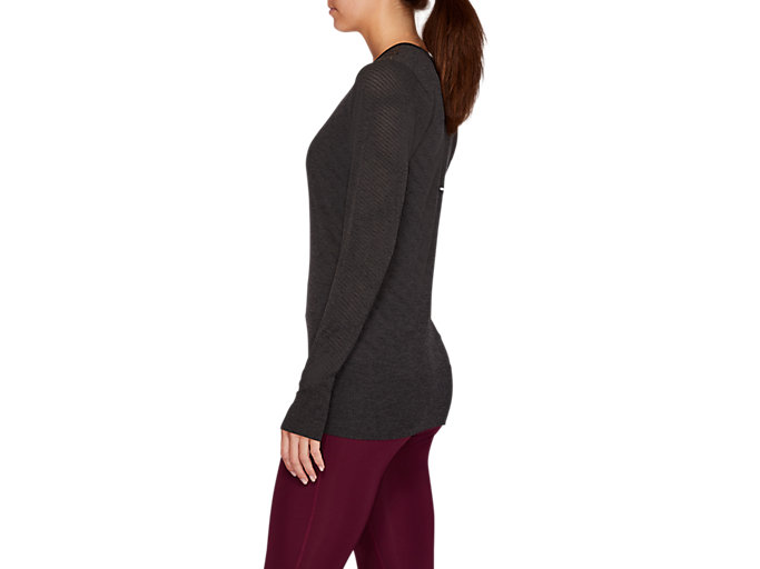 Side view of SEAMLESS LS TOP, PERFORMANCE BLACK HEATHER