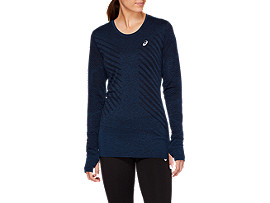 Front Top view of SEAMLESS LS TOP, MAKO BLUE HEATHER
