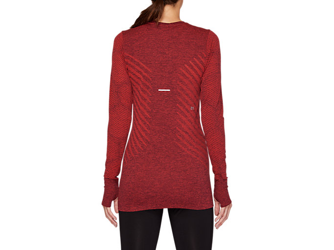 Back view of SEAMLESS LS TOP, ROSELLE HEATHER