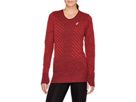Front Top view of SEAMLESS LS TOP, ROSELLE HEATHER