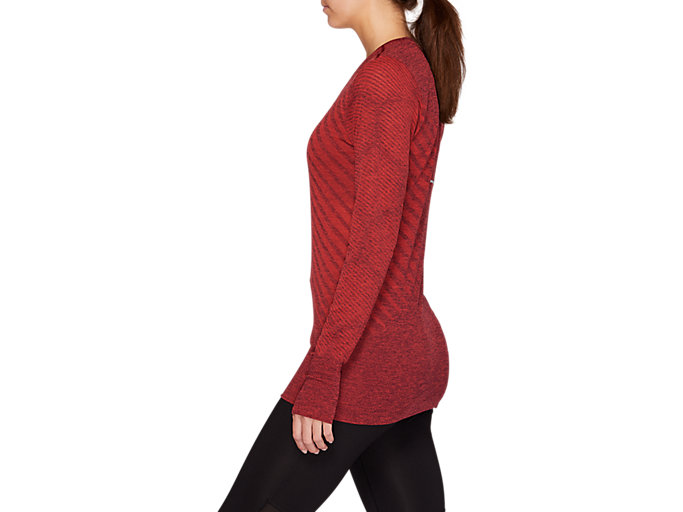 Side view of SEAMLESS LS TOP, ROSELLE HEATHER