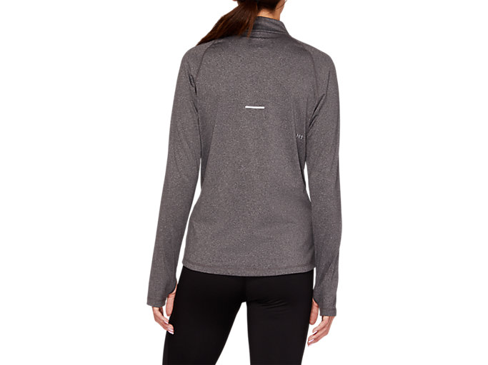 Back view of WINTER 1/2 ZIP TOP, DARK GREY HEATHER