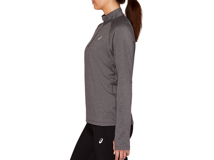 Side view of WINTER 1/2 ZIP TOP, DARK GREY HEATHER