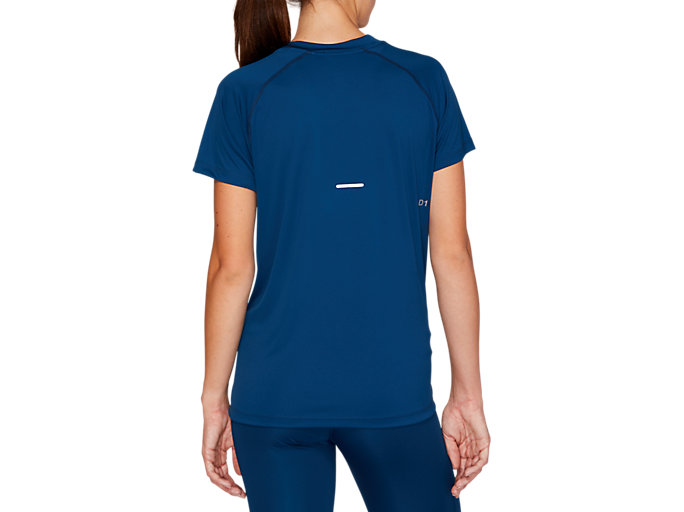 Back view of V-NECK GPX RUN TOP, MAKO BLUE